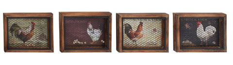 Set of 4 Rooster Hen Eggs Chicken Farm Country Kitchen Wood Wall Art Home Decor