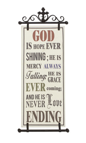 """God is Hope Ever Shining"" Inspirational Religious Christian Wall Plaque Sign"