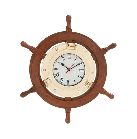 Wood Ship Wheel Brass Wall Clock Nautical Decor Shipwheel Beach Ocean Sea