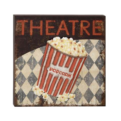 """Theatre"" Movie Popcorn Bucket Tub Hollywood Film Wall Art Theater Decor"