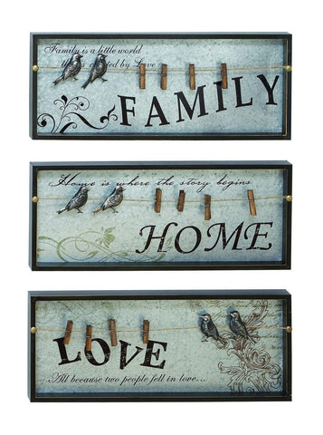 """Family"" ""Home"" ""Love"" Set of 3 Antiqued Blue Wall Plaques Photo Box Home Decor"