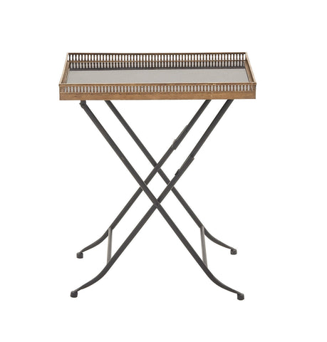 "21"" x 25"" Metal Marble Tray End Table Night Stand Black-Brown-Copper-Colored"