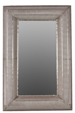 "28"" x 50"" Wall Mirror Wood Frame Metal Mesh Overlay Sleek Lines Silver Color"