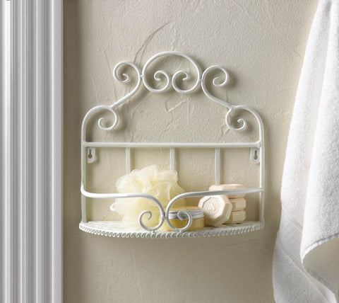 Bathroom Kitchen White Wrought Iron Scrolls Wall Shelf French Country Cottage