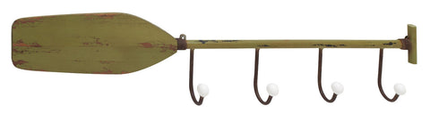 Distressed Sage Green Wood Metal Decorative Row Oar Rack Hook Canoe Paddle Boat