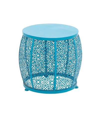 "17"" Bright Blue Floral Mesh Metal Stool Footstool Ottoman End Accent Table"