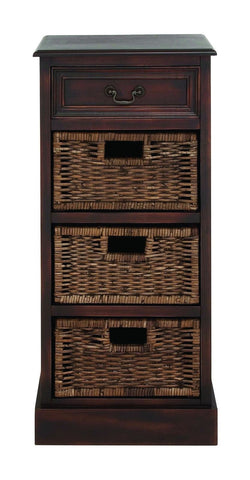 "36"" Tall Dark Brown Wood Chest Shelves Entry Display Stand 4 Baskets Drawer"