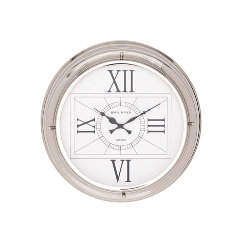 """Jewel Tower London"" White Silver Hanging Wall Clock Home Decor"