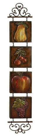 "60"" Apple Pear Cherries Grapes Fruit Metal Wall Art Fleur-de-Lis Kitchen Decor"