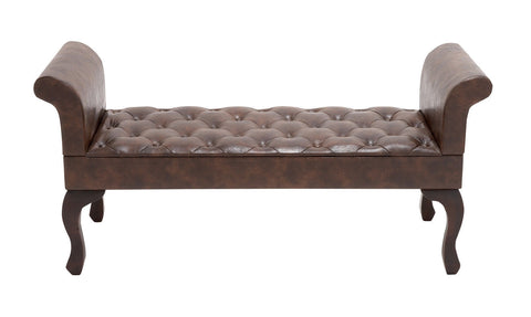 Brown Roll Arm Wood Leather Bench Bedroom Furniture Home Decor