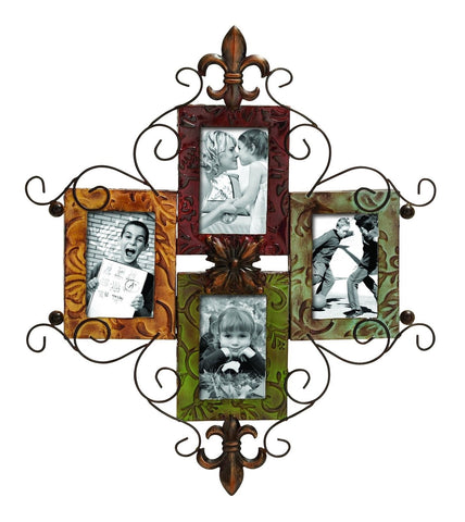 4 Picture Red Green Boho Wall Art Photo Frame Fleur-de-Lis Modern Home Decor