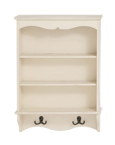 White Wood Curio Wall Shelf Unit 3 Shelves 2 Double Hooks Kitchen Bathroom Entry