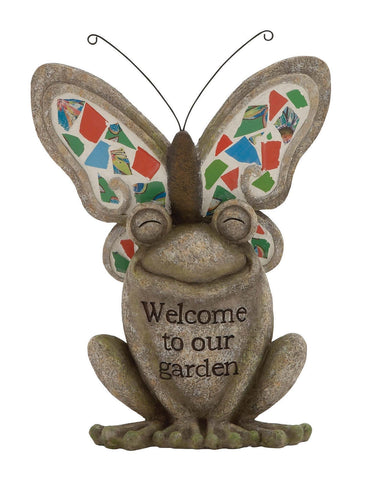"""Welcome to Our Garden"" Butterfly Frog Stone Yard Art Statue Figurine Home Decor"