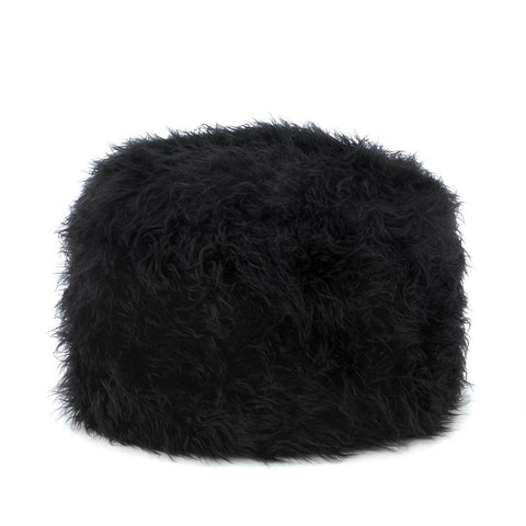 Contemporary Fuzzy Shaggy Black Ottoman Pouf Foot Stool Rest Modern Teens