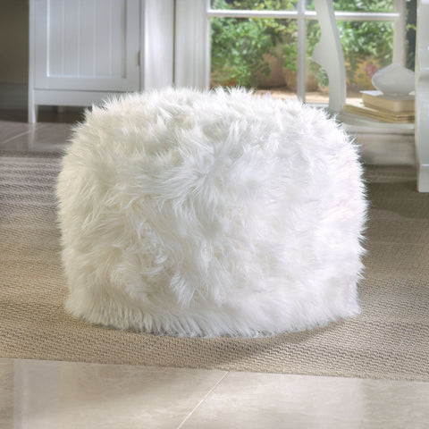 Fur-like Fuzzy Shaggy White Ottoman Pouf Foot Stool Rest Modern Teen Room Decor