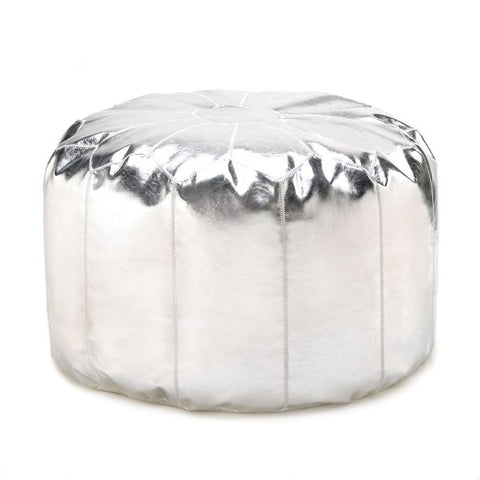 Contemporary Sleek Silver Chrome-like Ottoman Pouf Foot Stool Rest Modern Decor
