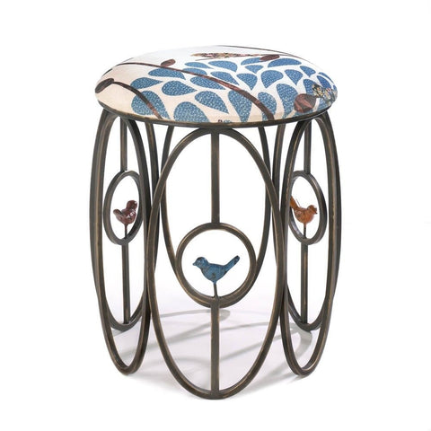 Blue Bird Black Metal Fabric Foot Stool Rest Ottoman Decorative Accent Boho Seat