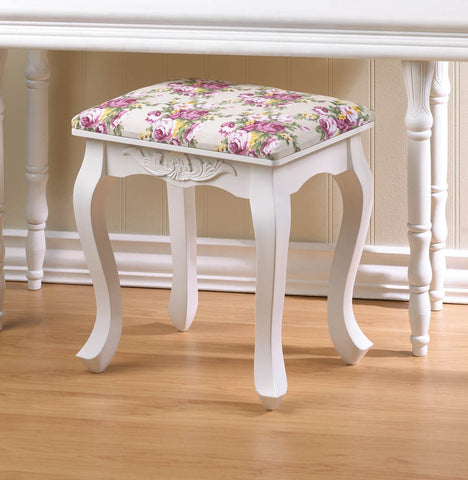 French Country White Floral Fabric Wood Foot Stool Rest Ottoman Decorative Seat