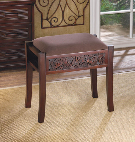 "20"" Elegant Upholstered Dark Wood Carved Bench Seat Stool Suede-Like Brown Taupe"