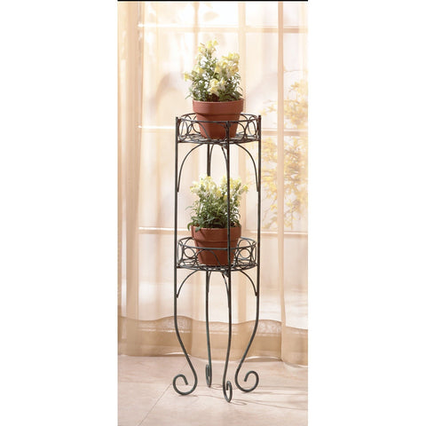 "28"" high Metal Verdigris-Style Finish 2 Shelf Plant Holder Stand Table Scrolls"