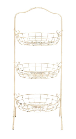 Antiqued Distressed White Shabby Metal Basket Rack Kitchen Shelf French Country
