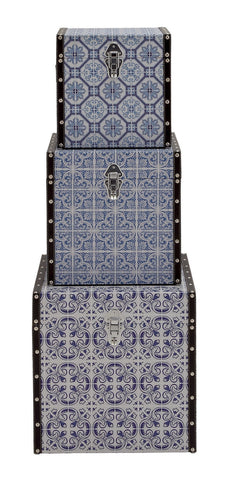 Purple White Mosaic-Look Tile Pattern Vinyl Wood Trunk Set 3 Storage Container