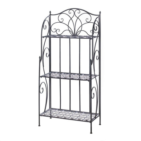 Black Iron Scrollwork Bakers Rack Accent Decorative Shelf Bookcase