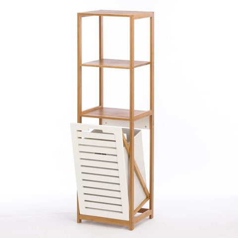 Bamboo Bathroom 3 Shelf Unit Organizer with White Wood Slatted Clothes Hamper