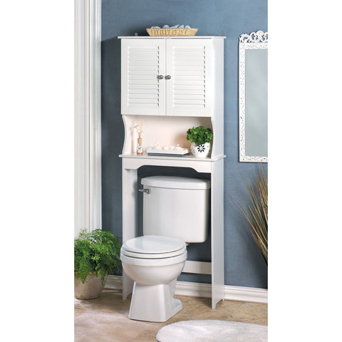 White Bathroom Shelf Organizer Storage Towel Cabinet Space Saver Over Toilet