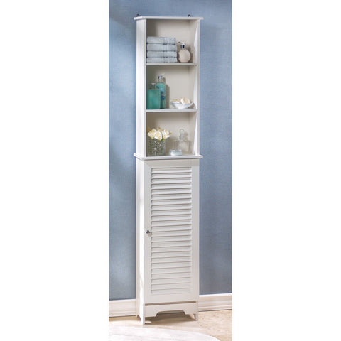 Tall Thin Narrow White Bathroom Room Shelf Organizer Storage Cabinet Cubby