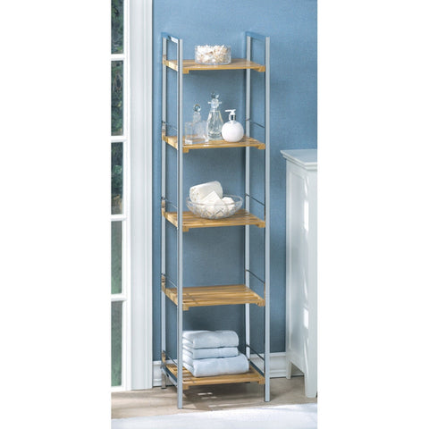 Tall Modern Bamboo Chrome Bathroom 5 Shelves Shelf Organizer Contemporary
