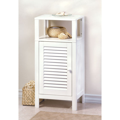 tall White Bathroom Cabinet Shelf Accent Organizer Table Stand Louvered Door