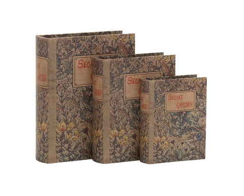 """Secret Garden"" Vintage Look Leaf Flower Wood Book Box Set Of 3 Library Shelf"