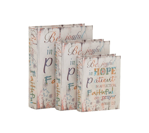 """Joyful Hope Patient Faithful Prayer"" Christian Wood Book Library Box Set Of 3"