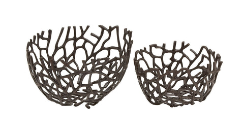 Coral-Look Black Aluminum Decorative Bowl Dish Set Of 2 Ocean Reef Sea Decor