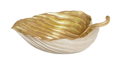 20x14.5x6 Large Gold White Leaf Decorative Bowl Dish Autumn Fall Harvest Décor