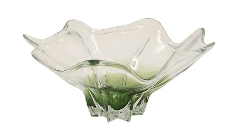 Modern 18x15x9 Wide Clear Green Translucent Glass Decorative Dish Fluted Bowl