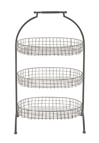 "35"" TAll Standing Floor Metal Basket 3 Tier Tray Farm Country Kitchen Home Decor"