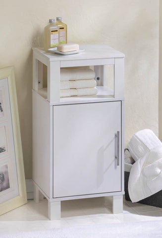 Contemporary White Bathroom Cabinet Towel Shelf Modern  Stand Table