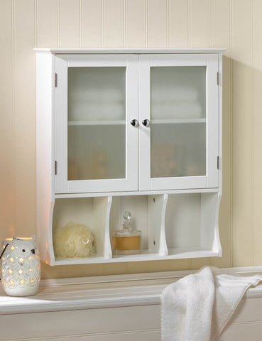 Modern Frosted Glass White Bathroom Medicine Cabinet Hanging Wall Shelf Storage