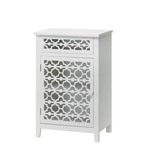 Moroccan Style White Lace-Like Bathroom Cabinet Shelf Drawer Boho Stand Table