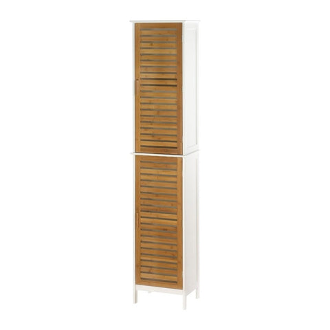 Modern Tall White Bamboo Slats Bathroom Linen Towel Cabinet Shelf Cubby