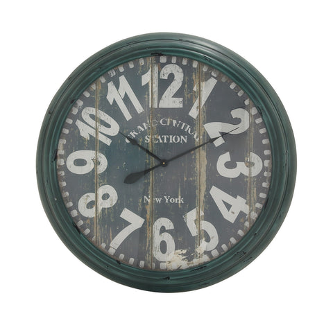 """Grand Central Station New York"" Green Antiqued Vintage Look Metal Wall Clock"