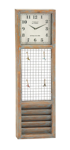 14x47 tall Wood Metal Wall Clock with Memo Holder Organization Country Home deco