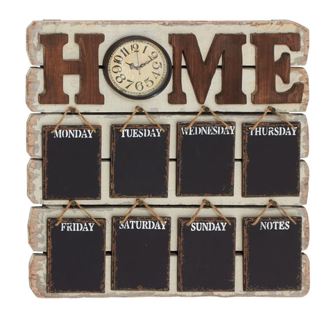 """Home"" Days of the Week Memo Note Wood Wall Clock Chalk Blackboard Chore Chart"
