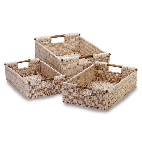 Set of 3 Tightly Woven Cornhusk Nesting Baskets with Bamboo Handles Bathroom