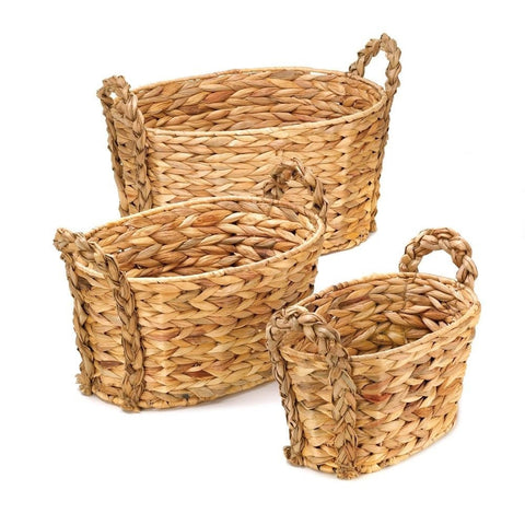 Set of 3 Sturdy Country Woven Hyacinth Straw Baskets Western Rustic Home Decor