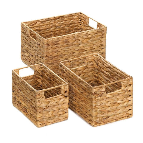 Set of 3 Sturdy Woven Baskets Rectangle Shaped Wire Frame Thick Weave Home Decor