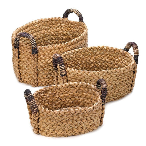 Set of 3 Sturdy Oval Woven Baskets with Handles Rustic Old World Style Decor