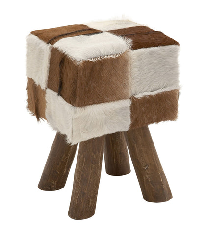 Rustic Brown Faux Hide Square Foot Stool Country Western Cowboy Decor